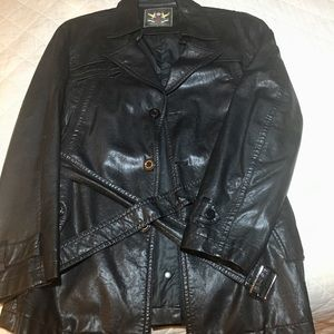 Vintage style faux leather trench belted